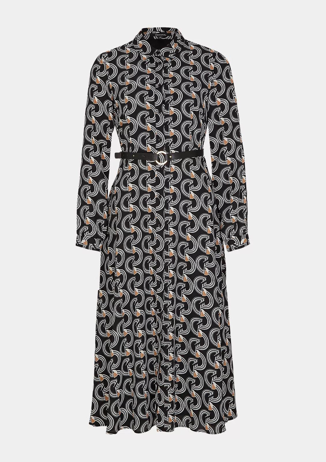 Black, White and Tan Print Belted Shirt Dress