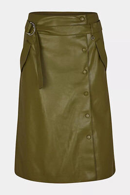 Deep Green Faux Leather Skirt