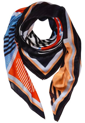 Blue, Orange and Navy Printed Scarf