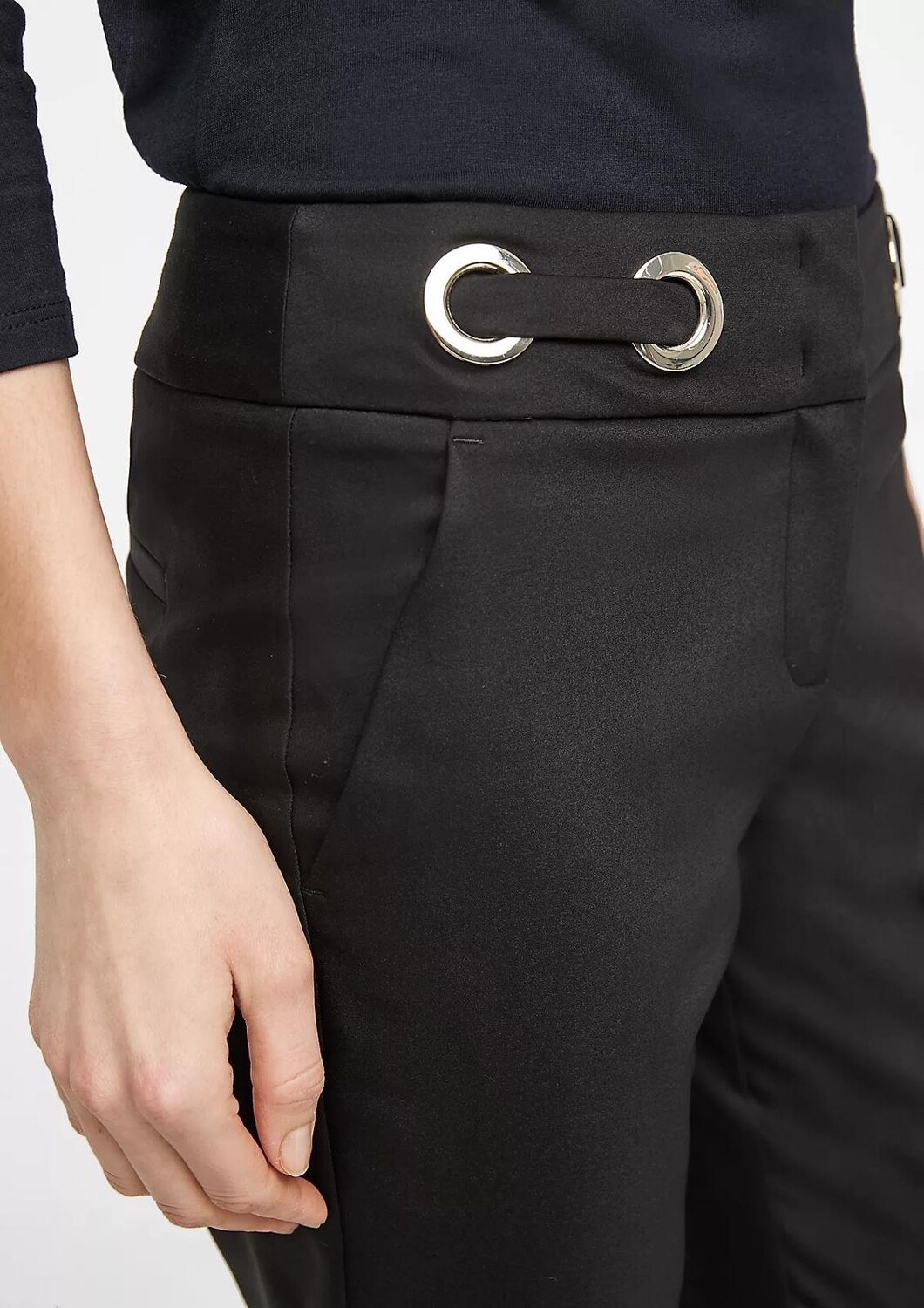 Black Slim Leg Trousers with Silver Circle Detail on Waist Band