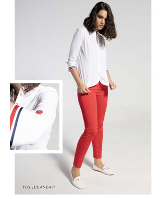 'Tuy' White Cotton Shirt With Red and Navy Button and Trim