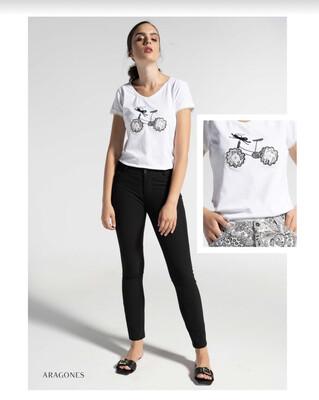 'Aragones' White Bicycle Motif Organic Cotton T-Shirt