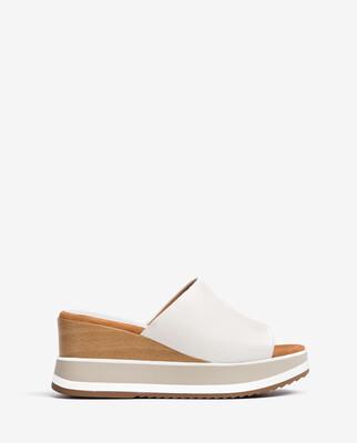 Kalani Ivory Leather Wedge Sandal