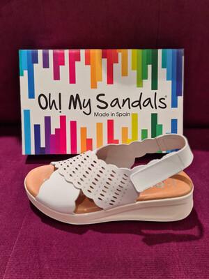 White Leather Kriss Kross Velcro Fastening Sandal