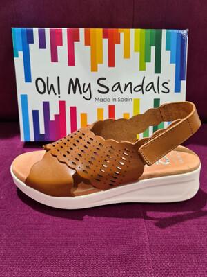 Tan Leather Kris Kross Velcro Fastening Sandal