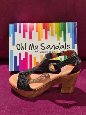 Black Croc Leather Wooden Block Heel Sandal