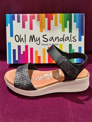 Black and Silver Double Strap Velcro Fastening Sandal
