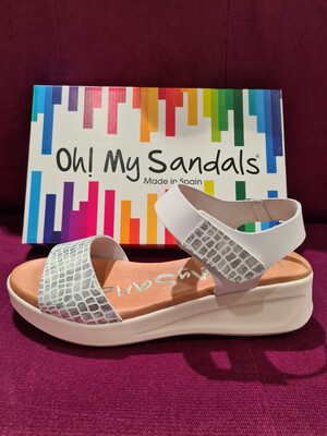 White and Silver Double Strap Velcro Fastening Sandal