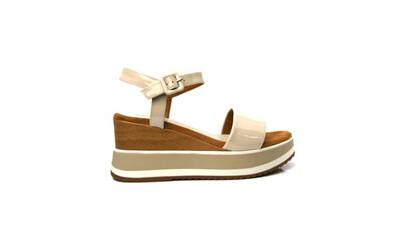 Kolla Ivory Leather Wedge Sandal