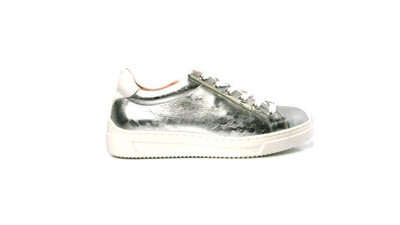 Fasina Shiny Effect Silver Leather Trainers