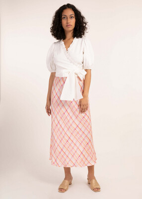 'Edelyne' Lilac and Orange Print Flowing Midi Skirt