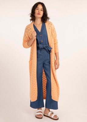 Melon Longline Knit Cardi