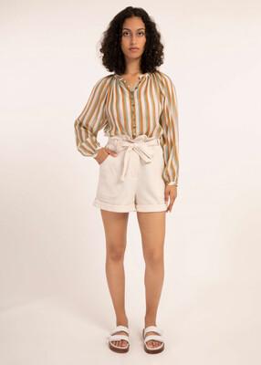 Cream Cotton Shorts