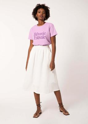 White Ece Eyelet Midi Skirt