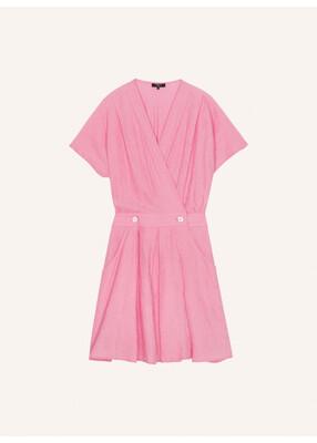 Pink Tone On Tone Stripe Short Dress