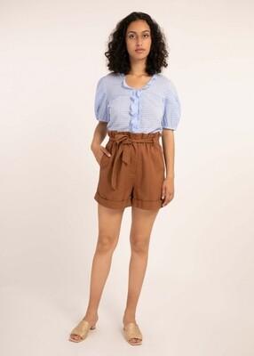 Baby Blue Ruffle Short Sleeve Shirt