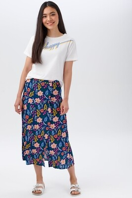 Laurel Blue Painted Floral Skirt