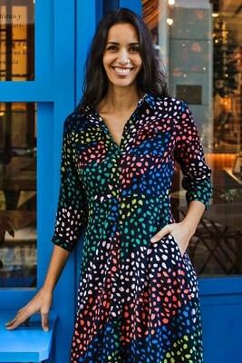 Paola Black, Seaglass Stripe Shirt Dress