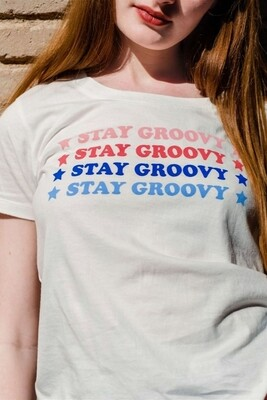 Sylvie Stay Groovy Off White Cotton T-Shirt