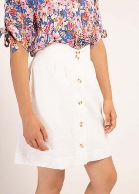 High Waisted Cotton Button Through Skirt