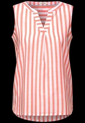Coral & Cream Stripe Sleeveless V Neck Top