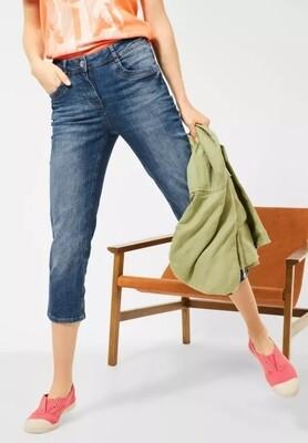 Medium Blue Slim Fit Denim 3/4 Lengths