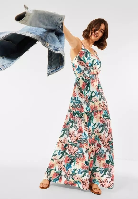 Off White Maxi Dress With Print