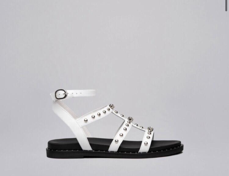 White Jewel & Stud Leather Sandal