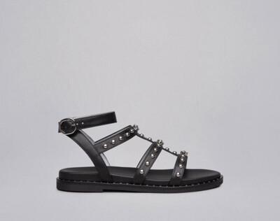 Black Jewel & Stud Leather Sandal