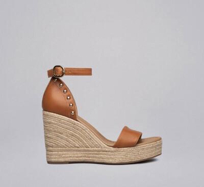 Tan Leather Stud Wedge