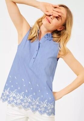 Blue Sleeveless Blouse Top