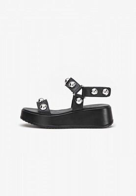 Black Stud Leather Sandal