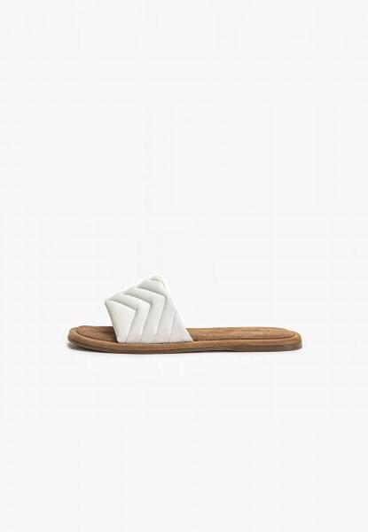 White Leather & Suede Slider