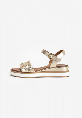 Gold Leather Weave Sandal