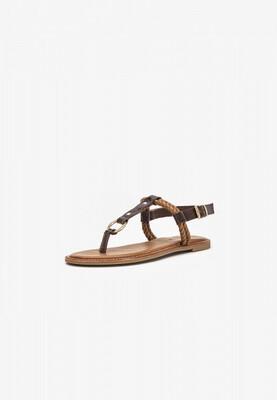 Dark Brown & Tan Leather Flat Sandal