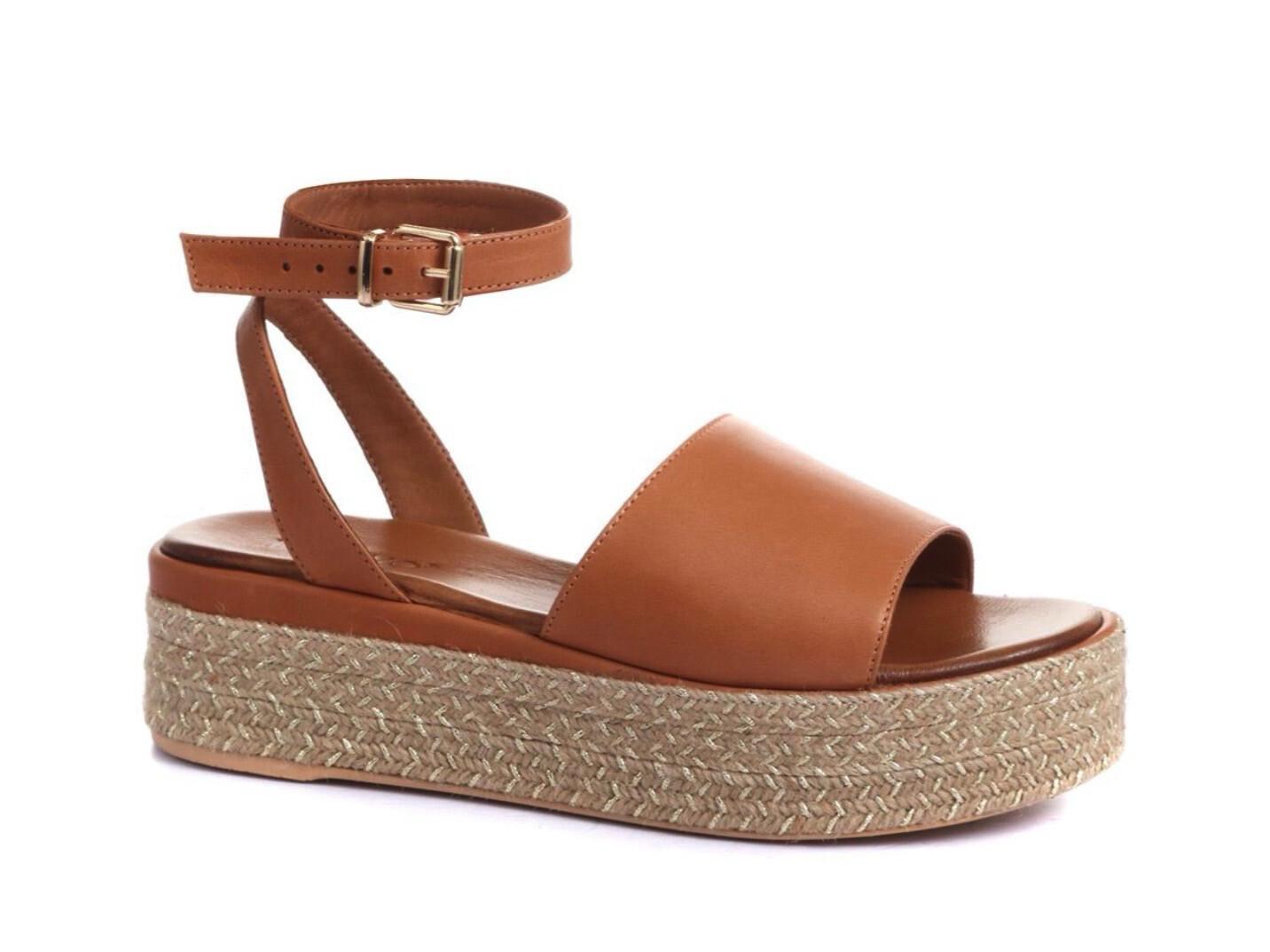 Tan Leather Flatform Sandal