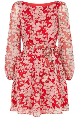 Red And Pink Floral Lily Dress
