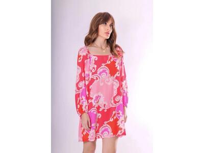 Red & Pink Capri Dress