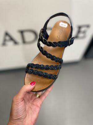 Navy Sparkle Leather Sandal