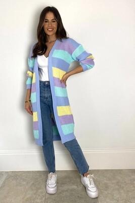 Candy Love Stripe Cardigan - Blue Mix - One Size