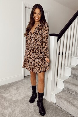 Abby Button Front Loose Fit Brown Animal Print Dress