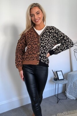 Dollie Mixed Print Button Cardigan - Black/Brown