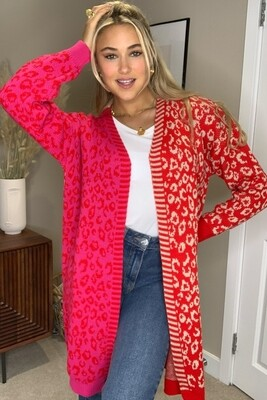 Quinn Mixed Print Long Cardigan - Red/Pink - One Size