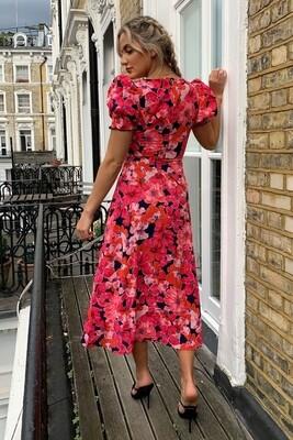 Lillian Sweetheart Midi Dress - Hot Pink Floral