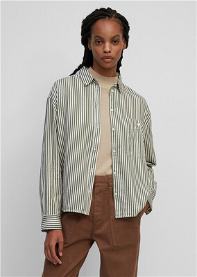 Khaki And Cream Striped Blouse