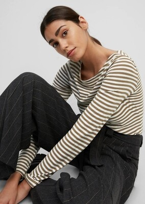 Brown & Cream Striped Long Sleeved Top