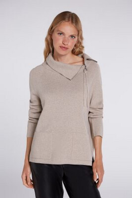Light Stone Jumper With Zip Neck Detail