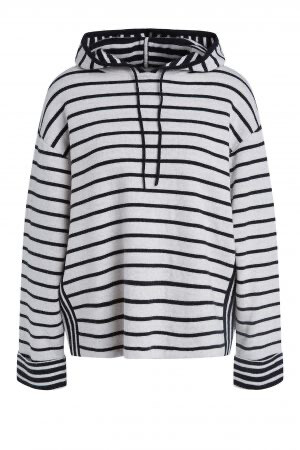 Black Stripe Hooded Knit Jumper