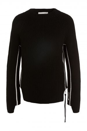 Black Knit Jumper with White Piping