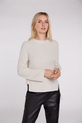 Beige Knitted Jumper With Side Zip